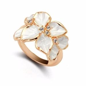 Jewelry - Ivory Gardenia Flower Austrian CZ Statement Ring